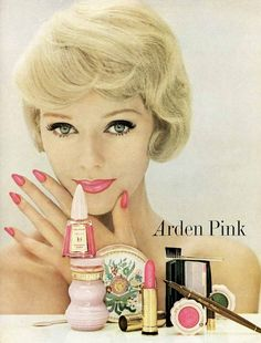 Elizabeth Arden cosmetics, Vogue, 1959. I love the packaging and the cake mascara