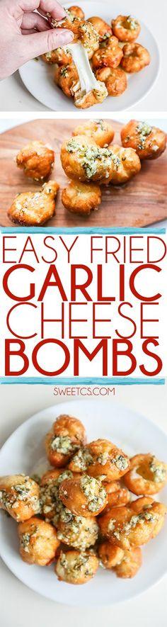 Easy Fried Garlic Cheese Bombs