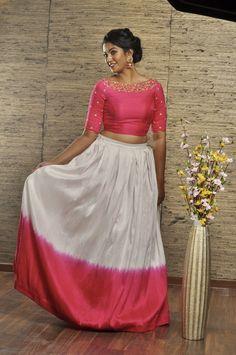 Lehenga Designs Simple, Simple Lehenga, Wedding Saree Blouse Designs, Long Skirt Top Designs, Crop Top Designs, Long Dress Design, Indian Skirt And Top, Long Skirt And Top, Long Gown Dress