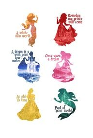 "Disney Princesses Silhouettes. Their songs with their castles. I dont think Belle would appreciate her lyric being ""as old as time"""