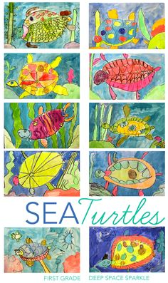 Turtles Drawing & Painting Lesson How to draw and paint a sea turtle using simple art supplies.First grade galleryHow to draw and paint a sea turtle using simple art supplies.First grade gallery Art Lessons For Kids, Art Lessons Elementary, Art For Kids, Kindergarten Art, Preschool Art, Sea Turtle Art, Sea Turtles, First Grade Art, Deep Space Sparkle