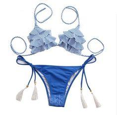 Plavky dámské dvoudílné s třásněmi bílo-modré – dámské plavky + POŠTOVNÉ  ZDARMA Na tento fd38f697f1