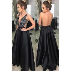 long prom dresses - Black v neck satin long prom dress, black evening dress Prom Dresses With Pockets, Open Back Prom Dresses, V Neck Prom Dresses, Black Evening Dresses, Black Prom Dresses, Grad Dresses, Sexy Dresses, Beautiful Dresses, Homecoming Dresses