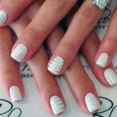 Bridal | Wedding Nail Art Design - White with Silver Accents