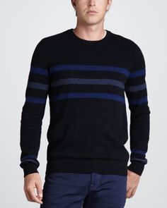 Chest-Stripe Cashmere Sweater by Vince at Neiman Marcus.