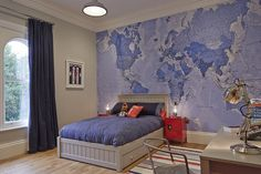 This world map creates a fantastic feature wall in a kid's bedroom.