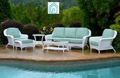 The Sea Pines Collection offers elegant design. and rugged all-weather durability. With its extra large. this outdoor furniture collection will be perfect for any outdoor seating occasion. Outdoor Sofa Sets, Outdoor Seating, Outdoor Furniture Sets, Glass Top End Tables, Tempered Glass Table Top, Coffee Table Length, Contemporary Outdoor Sofas, White Wicker Furniture, Deep Seat Cushions