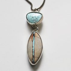 Royston ribbon turquoise and Nevada turquoise create this little beauty set in sterling silver. LVMdesigns