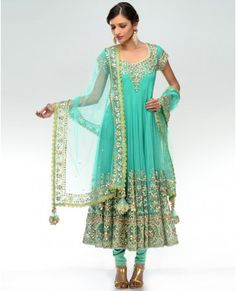 ea87f4c6fc Turquoise Mint Gota Embroidered Kalidar Suit -- Love! Indian Jewelry, Indian  Clothes,