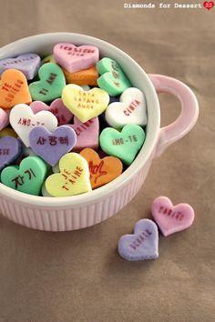 homemade multilingual conversation hearts / diamonds for dessert
