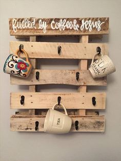 This DIY Recycled Pallet Coffee Mug Holder is a more exclusive inclusion to awesome recycle globe of pallets! Just build a little rectangle with within partitioning and just put a few hook varieties at the base to get this mug manager on much cost-efficient rate!