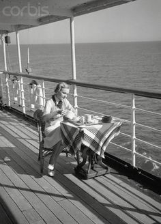 Female Passenger Having Tea Alone on Cruise Ship