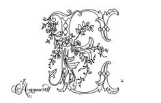 Letter E Anamotique Antique Embroidery Letter: File for download