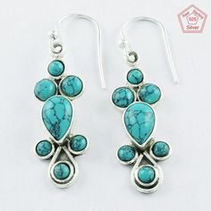 Treditional 5 gm Turquoise Stone Sterling Silver 925 Jewelry Earrings $ 14.99 #SilvexImagesIndiaPvtLtd #DropDangle