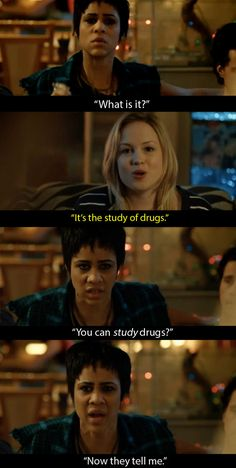 When Josie told Vod that she was thinking of switching to studying pharmacology. When Josie told Vod that she was thinking of switching to studying pharmacology. Tv Funny, Tv Shows Funny, Ugly Betty, Fresh Meat, Himym, Tv Show Quotes, How I Met Your Mother, Prison Break, Shows On Netflix
