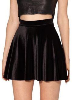 High waist Velvet pleated skirt Velvet Black Skater Skirt S M L XL