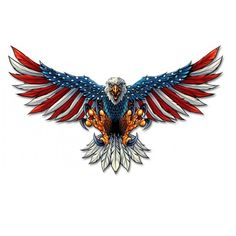 Eagle With US Flag Wing Spread sold by VintroSigns. Shop more products from VintroSigns on Storenvy, the home of independent small businesses all over the world. Patriotic Pictures, Eagle Pictures, Bald Eagle Tattoos, Traditional Eagle Tattoo, Eagle Drawing, Patriotic Tattoos, American Flag Eagle, Chest Piece Tattoos, Chest Tattoo