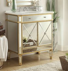 "32"" Mirror Reflection Austell Bathroom Sink Vanity Model # YR-504GC (Gold)"