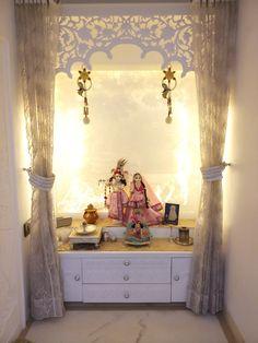 White Prayer Room with Yellow Back Lighting  #urbanclaphomes #homedecor #hometrends #interiordesign #interiordesignideas #interiordesigninspiration #decorideas #poojaroom #