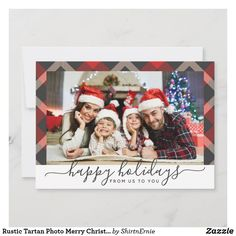 Rustic Tartan Photo Merry Christmas Navy Lettering Holiday Card Happy Holidays Greetings, Merry Christmas Happy Holidays, Christmas Blessings, Christmas Photo Cards, Christmas Photos, Tartan Christmas, Tartan Pattern, Holiday Greeting Cards, Red And White