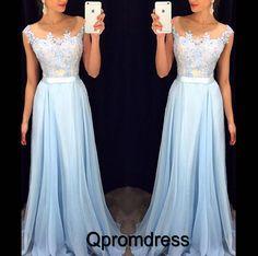 Modest prom dress, ball gown, 2016 beautiful blue chiffon long evening dress with straps