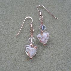 781a3e5d7 Rose Gold Vermeil Murano Glass Heart Earrings £15.00 Heart Earrings, Glass  Earrings, Glass. Folksy