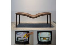 Kyung Woo Han, Level Table 2012, live video installation, wood, magnet, TV, camera, 200x70x80cm(table)