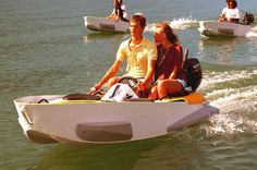 Introducing Marine Kart, a lightweight boat with an outboard motor that's easy to pick up and take to the nearest lake. Think of this like a go-cart that floats. A slender, motorized means of water transit that seats up to four people. Which means you can...