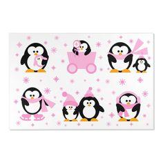 PENGUIN AREA RUG Baby Girl Nursery Room Decor