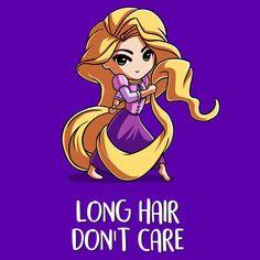 Rapunzel Long Hair Don't Care T-Shirt   Official Disney Tee – TeeTurtle