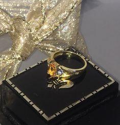 18K Citrine Diamond Accent Ring, 5 grams, US Size 7, November Birthstone