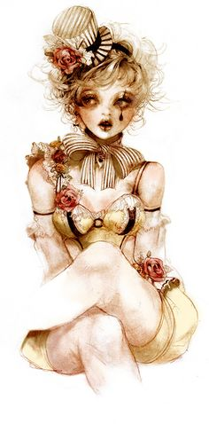 Illustration: yellow lace teddy & silky arm warmers.