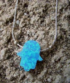 Opal hamsa israeli silver jewelry necklace for by Bluenoemi, $33.00
