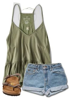 """""""•I made A team volleyball at my school•"""" by simply-preppy-girl ❤ liked on Polyvore featuring American Eagle Outfitters, Birkenstock and Kendra Scott"""