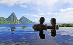 O hotel Jade Mountain, localizado na ilha caribenha St. Lucia