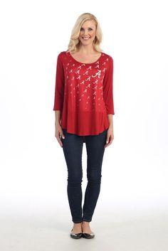 Alabama Crimson Tide Women's Repeat Logo Hi-Lo Splittail 3/4 Sleeve