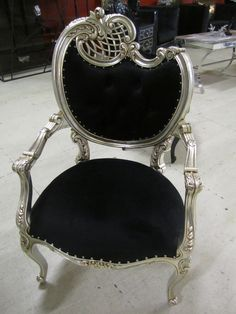 Hollywood Regency Chair in Black by Diva Rocker Glam
