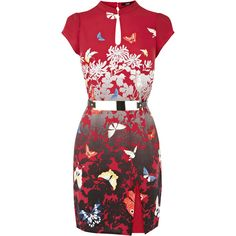 OASIS Butterfly Oriental Split Shift ($20) ❤ liked on Polyvore featuring dresses, vestido, red dress, high neck shift dress, cut out dresses, short sleeve shift dress and red shift dress