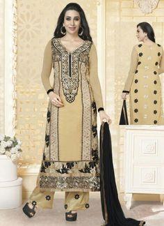 Bollywood Cream Wholesale Faux Georgette Salwar Suits Exporter  Buy full catalog Now @ http://www.suratwholesaleshop.com/5189-Karishma-Kapoor-Foxy-Black-Faux-Georgette-Designer-Salwar-Suit?view=catalog  #celebritystylesalwarsuits #salwarsuits #salwarkameezexporter #salwarkameezsupplier #suratsalwarkameezsupplier