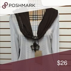 Scarf Necklace Beautiful Brown medallion holder and scarf Accessories Scarves & Wraps
