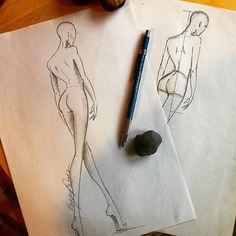 Fashion Illustration Sketches, Fashion Sketchbook, Fashion Sketches, Body Sketches, Dress Sketches, Fashion Books, Fashion Art, Fashion Figure Templates, Fashion Silhouette