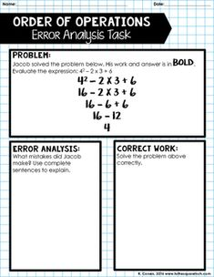 Equations and Expressions Error Analysis by To the Square Inch- Kate Bing Coners | Teachers Pay Teachers