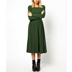 Round Neck Long Sleeve Maxi Dress