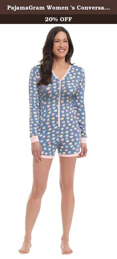 PajamaGram Women 's Conversation Hearts Pajama Romper Multi Small / 4-6. Her heart will be aflutter in this sweet-as-can-be Conversation Hearts Romper from PajamaGram. Featuring our colorful all-over candy heart print with lovey-dovey phrases, this is the perfect pajama romper for Valentine's Day or your anniversary. It's topped with the cutest details ever, including a heart-shaped pocket on the left chest plus a snap dropseat for a suggestive finish. PajamaGram offers a whole collection…