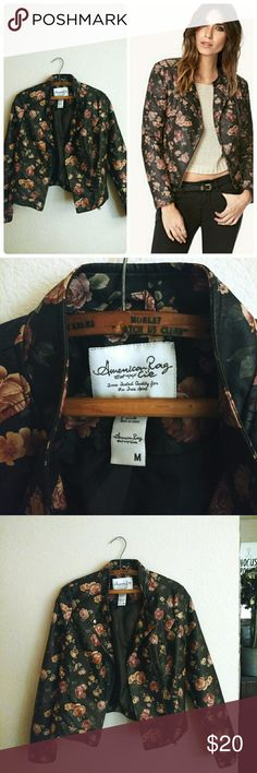American Rag Floral Jacket Faux leather floral jacket that is soft and stunning! Jacket can be zipped up and buttoned like a regular moto jacket, and it features two pockets on the front. In excellent condition - color is closer to a gray/taupe rather than black. Size Medium, Shell Non-Leather,  Lining 100% Polyester. American Rag Jackets & Coats Utility Jackets