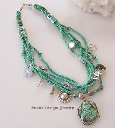 Schaef Designs turquoise charm necklace with native american jewelry | treasure necklace | Totem Animal Jewelry | Upscale online Southwestern, Equine, & Native American Jewelry Gallery Boutique | Schaef Designs artisan handcrafted Jewelry | San Diego CA
