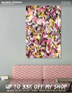 Discover «Wild strokes pattern - Pink and yellow», Limited Edition Canvas Print by Ninola - From 55€ - Curioos