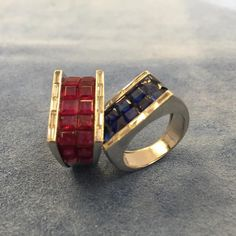 A rare pair of sapphire, ruby, and diamond Art Deco rings #sapphires #rubys #artdecojewelry ##spicer_warin_jewels