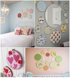 Simple but adorable patterned circles Bedroom Crafts, Diy Home Decor Bedroom, Diy Home Decor On A Budget, Home Decor Furniture, Cadre Diy, Tiny Living Rooms, Office Wall Decor, Recycled Furniture, Girls Bedroom