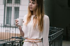 Grétka is wearing Long Blouse with pink leather strap. Shop here: http://meandm.bigcartel.com/
